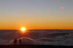 Sunset on the top of Haleakala volcano royalty free stock photo