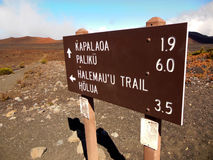 Haleakala Trails. The trail marker found at the base of Haleakala Crater where three trails meet directing hikers to different areas of Haleakala National Park Stock Photos