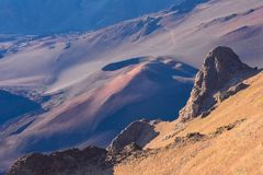 Haleakala volcano crater in Maui Hawaii stock images