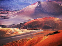 Haleakala volcano Maui Hawaii. Closeup of the Haleakala volcano which although inactive still reminds us of an extraterrestrial landscape with its craters and Royalty Free Stock Photo
