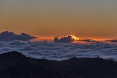 Haleakalakrater bij zonsopgang Stock Afbeelding