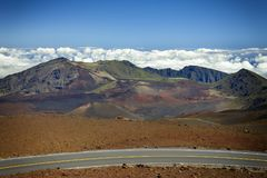 Haleakula krateru droga Obrazy Royalty Free