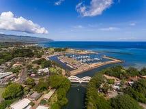 Haleiwa镇港口鸟瞰图  免版税库存图片