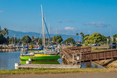 Haleiwa Boat Harbor. Located in historic Haleiwa Town, on the North Shore of Oahu, Hawaii Stock Photo