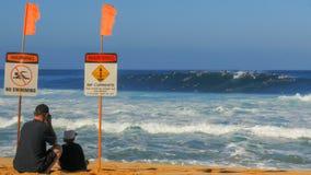 HALEIWA FÖRENTA STATERNA AV AMERIKA JANUARI 13 2015: brett skott av stranden och surfarna i vattnet på rörledningen royaltyfri fotografi