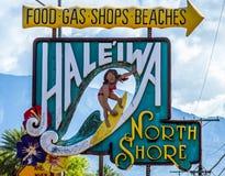 Haleiwa-Stadt stockfoto