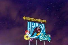 Haleiwa-Stadtikonenhaftes Zeichen Stockbild