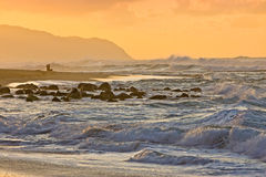 haleiwaoahu solnedgång Arkivbilder