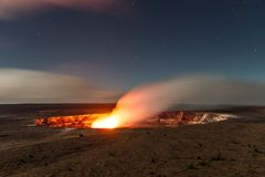 Halemaumau Crater. The flames and smoke of a volcanic crater Stock Photography