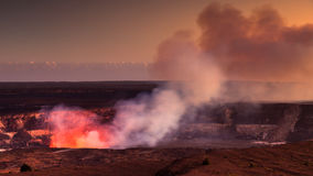 Halemaumau Crater Glow. Fire glow coming out of the active Halemaumau crater in Volcanoes National Park, Hawaii Big Island Royalty Free Stock Photography