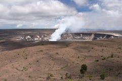 Halemaumau Crater of Kilaeua volcano, Hawaii. Plume of steam and sulfur gas, active eruption inside Halemaumau Crater of the Kilaeua volcano, Big Island, Hawaii Stock Photos