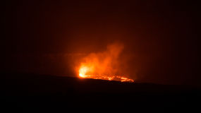 Halemaumau Crater. Night view at the lava lake and the lava eruptions inside the Halemaʻumaʻu Crater, a pit crater located within the much larger summit Stock Photos