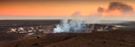 Halemaumau Crater At Sunset Stock Photos