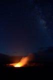 Halemaumau Crater under a starry sky, Big Island, Hawaii Stock Photography
