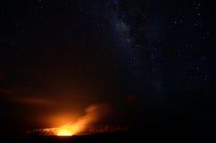 Halemaumau Crater under a starry sky, Big Island, Hawaii Stock Image