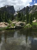 Halet Peak and small lake Rocky Mountain National Park. Stock Image