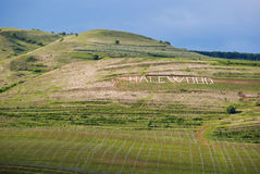Halewood. Written on a wineyard meadow, plagiarism or imitation of hollywood writing stock photography