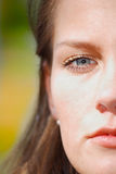 Half. Face of young girl, portrait Royalty Free Stock Image