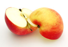 Half apple. Two half of big ripe red-yellow apple Royalty Free Stock Photography