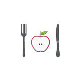 Half Apple with fork andknife line icon Stock Photography