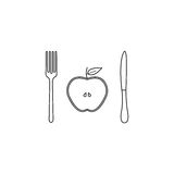 Half Apple with fork andknife line icon Stock Image
