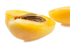 Half of apricot. Two half of apricot on white background Stock Photography