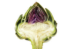 Half artichoke, showing the heart and choke under the leaves, is Stock Photography
