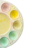 Half of artists palette with various color paints isolate on white background. Stock Photo