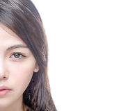 Half of Asian female face. Half of Chinese Asian female face isolated on white background Royalty Free Stock Photos