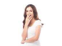 Half asian woman shocked on white background Royalty Free Stock Photo