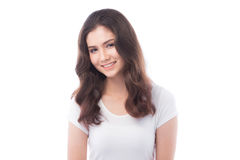 Half asian woman smiling on white background. Isolate Royalty Free Stock Photo