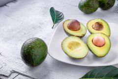 Half an avocado fruit royalty free stock image