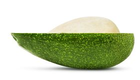 Half of avocado fruit isolated. Isolated avocado. Half of fresh avocado fruit with stone isolated on white background, with clipping path stock image