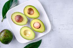 Half an avocado fruit royalty free stock image