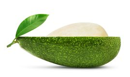 Half of avocado with leaf isolated. Isolated avocado. Half of fresh avocado fruit with stone and leaf isolated on white background, with clipping path royalty free stock photo