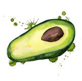 Half of avocado with paint blots Royalty Free Stock Image