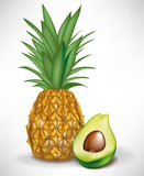 Half of avocado and pineapple. Fruit Royalty Free Stock Photography