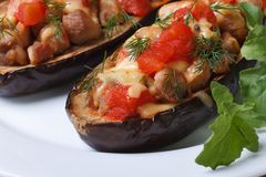 Half baked aubergine with meat, cheese and tomatoes Stock Photos