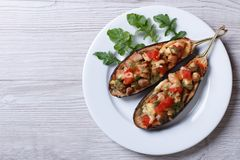 Half baked eggplants with meat, cheese and tomatoes Stock Images