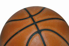 Half basketball. Macro view of half basketball on white background royalty free stock image