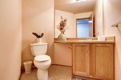 Half Bathroom interior with light pink walls Stock Photo
