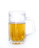 Half beer. Mug of beer over white Royalty Free Stock Photo