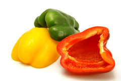 Half of bell peppers over white Royalty Free Stock Images