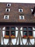 Half betimmerd muur en dak in het gebied van de Elzas Stock Afbeelding