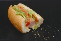 Half Bited Hot Dog on black Board with spices and Letuce, Tomatoes. Healthy Homemade Food. Half Bited Hot Dog on black Board with spices and Letuce, Tomatoes Stock Image