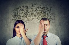 Free Half Blindfolded Couple Having Communication Problems And Share Anxious Thoughts Stock Photography - 161785992