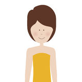 Half body adult woman with short hair Stock Image
