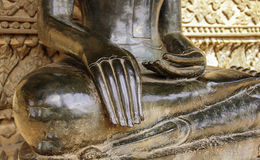 Half body Ancient Buddhism statue in Laos Temple Stock Photo