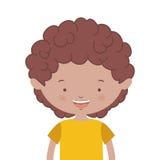 Half body brunette boy with t-shirt Stock Image