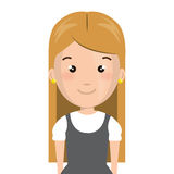 Half body cartoon blond girl with cute dress Stock Photos